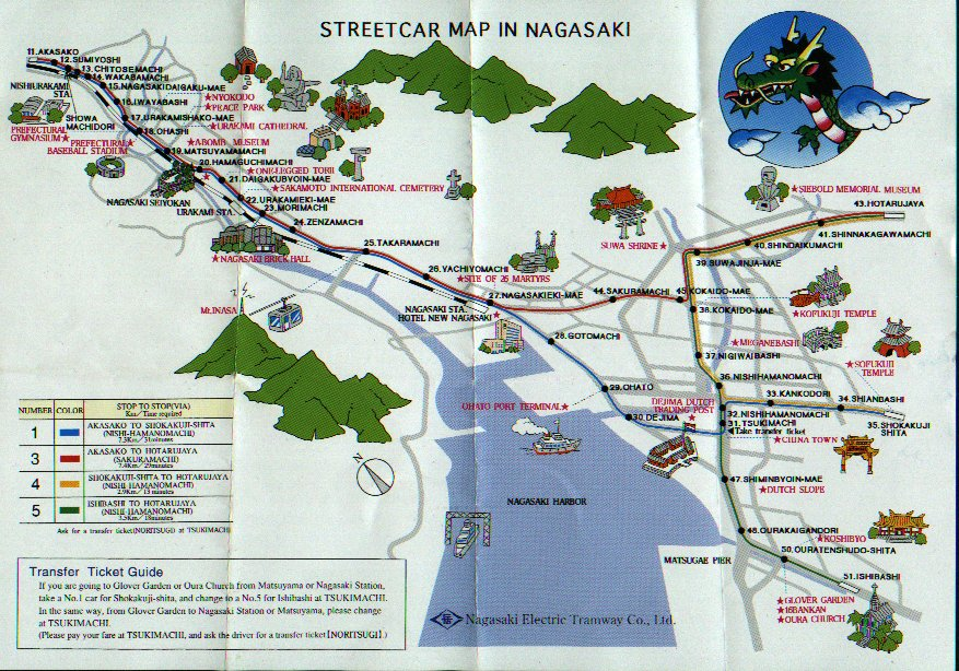 Nagasaki On World Map.Nagasaki Streetcar Map Jpg