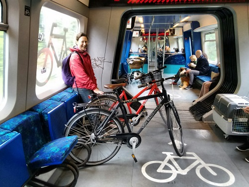 riding the train with bikes